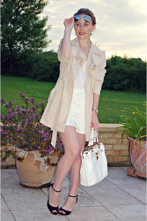 beige Primark coat - white Lamoda bag - black Primark heels - white H&M skirt