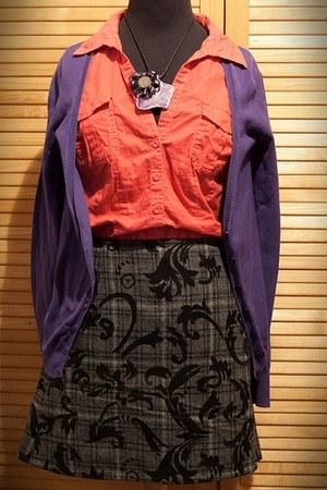 gray handmade skirt - Zara shirt - Zara cardigan - amethyst handmade necklace