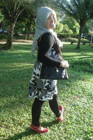 black shirt - black dress - gray scarf - red Keds shoes - black purse - black co