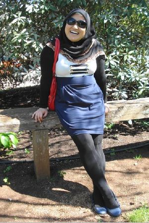 blue Valleygirl dress - blue rubi shoes - black cotton on tights - black shirt -