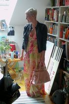 pink H&M dress - pink Miu Miu purse - black Zara jacket