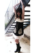 black Johnny Martin dress - black boots - white accessories - silver accessories