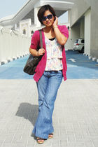pink Newlook cardigan - Zara blouse - Newlook jeans - Vincci shoes - Nine West b