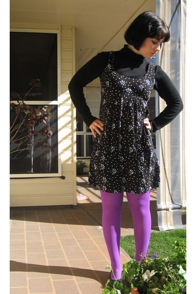 purple tights unknown brand tights - black black flats Love & Joy shoes