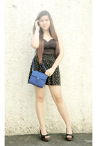 blue Closet Chic bag - black The Style Machine skirt - black Closet Chic top