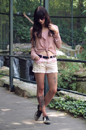 bubble gum DIY shorts - black dvf bag - pink Zara blouse - black asos flats
