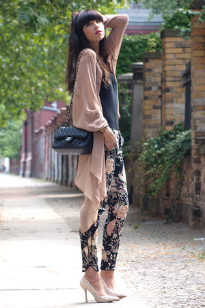 Zara pants - black Chanel bag - light pink weekday cardigan