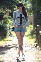 heather gray new look jumper - black Chanel bag - blue H&M shorts