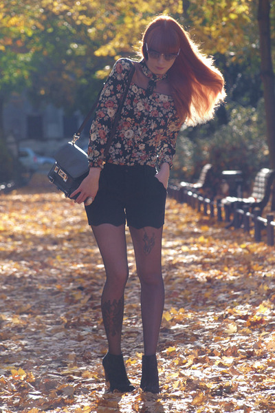 black Zara boots - black PROENZA SCHOULER bag - black Sheinside shorts