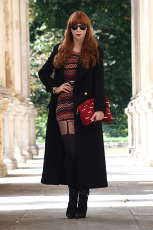 black Zara coat - black Zara boots - black Pretty polly tights - red Zara bag