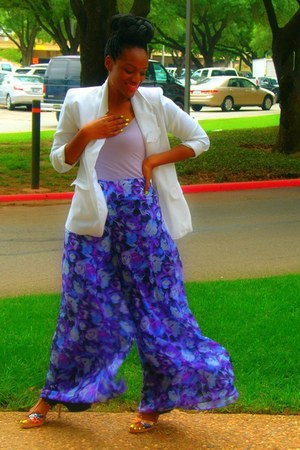 blue Rue 21 pants - white thrifted vintage blazer - light purple Ross blouse