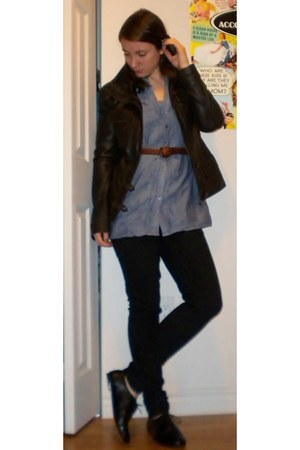 black oxfords Spring shoes - DKNY jeans - brown leather danier jacket - chambray