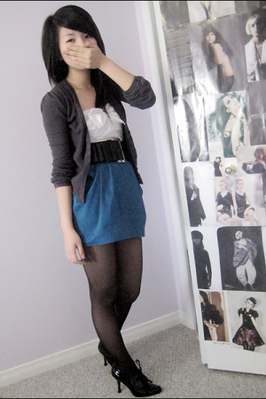 sweater - dress - belt - shoes - stockings