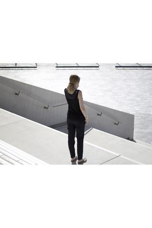 blue Zara pants - white Birkenstock sandals - black H&M top