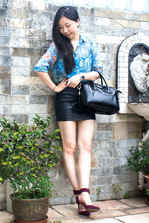 turquoise blue printed Zara blouse - black Givenchy bag