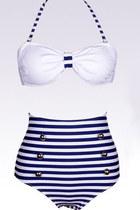 Vintage Halterneck Cross Stripe Six Buttons Swimsuit