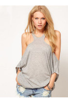 Dew Shoulder Hollow Out Loose T Back Vest, Light Gray