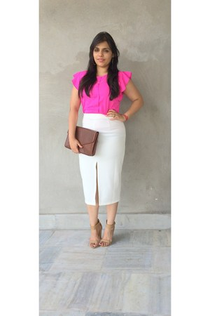 hot pink polyster Zara top - brown shorts - white cotton Thrift Store skirt
