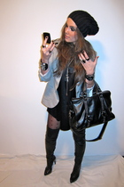black just female top - silver Zara blazer - black Zara boots - black Zara purse