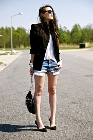 black Zara blazer - black Zara bag - sky blue Zara shorts - black Zara heels
