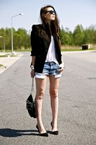 black Zara blazer - black Zara bag - sky blue Zara shorts - black Zara heels