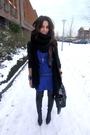 Black-warehouse-jacket-blue-jimmy-choo-for-h-m-dress-black-zara-boots