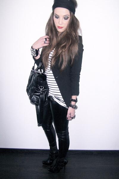 black Topshop boots - black Topshop pants - white H&M top - black Zara blazer