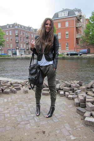 green Zara pants - black H&amp;M boots - black SuperTrash jacket - white H&amp;M top