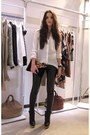 black ankle boots COS boots - white sheer Zara blouse