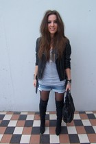 black Zara jacket - blue Zara shorts - black Zara boots