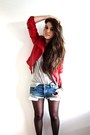 Red-leather-biker-zara-jacket-light-blue-denim-zara-shorts-heather-gray-h-m-