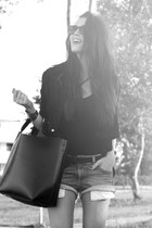 charcoal gray denim Zara shorts - black leather Muubaa jacket - black Zara bag