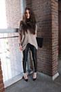 Black-leather-muubaa-pants-light-pink-h-m-jumper-black-pointed-toe-zara-heel