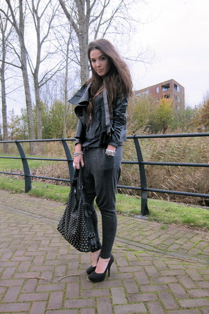charcoal gray Aaiko pants - black asos jacket - black H&amp;M shoes
