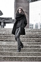 black knitted circle scarf - gray wedges Isabel Marant boots - black coat