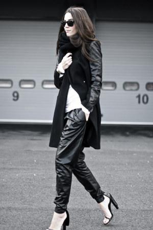black leather sleeves coat - black leather harem romwe pants - black cape heels