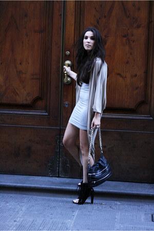 black Alexander Wang boots - heather gray mbym dress - tan COS cardigan