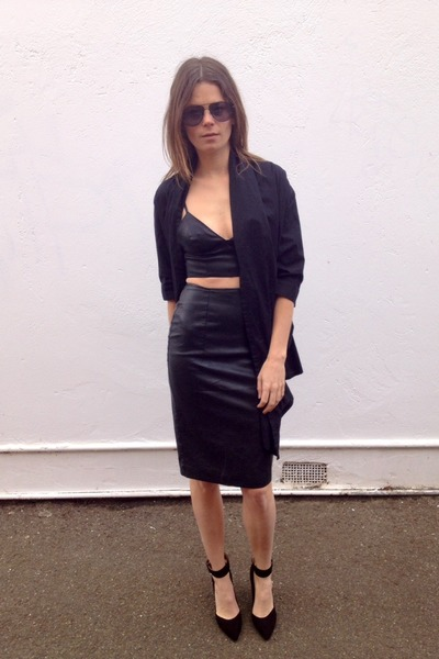 SAXONY jacket - faux leather bardot bra - faux leather Mossman skirt