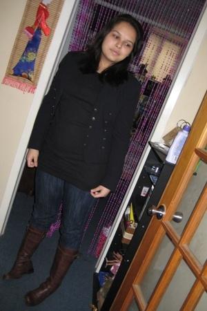 boots - donna karan blazer - jeans - shirt