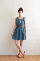 blue denim dress vintage dress - nude patent leather shoes