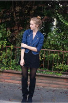 Zara boots - Urban Outfitters jacket - Topshop dress