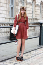 brown Urban Outfitters accessories - brown Topshop shoes - red Zara dress
