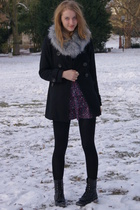 gray H&M scarf - black Primark coat - blue Zara dress - black we who see boots
