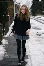 blue Zara coat - gray Zara skirt - gray Deena & Ozzy shoes