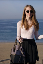 pink Urban Outfitters dress - gray Urban Outfitters accessories - brown Ray Ban