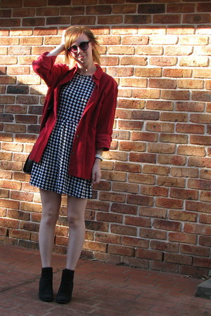 black boots - white checkered dress - red corduroy shirt