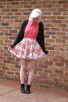 cream floral skirt - salmon blouse - black Vans sneakers