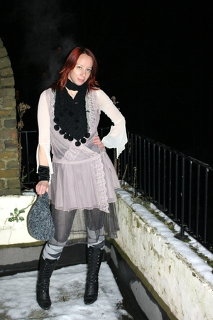 pink M&amp;S top - gray Topshop skirt - unknown brand top - unknown brand scarf - ba