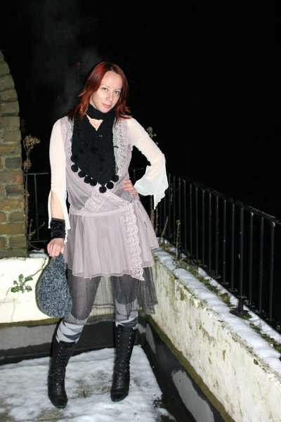 pink M&S top - gray Topshop skirt - unknown brand top - unknown brand scarf - ba