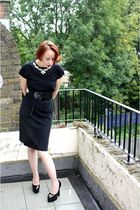 black vintage 40s dress - black Demonia shoes - black belt - white Vintage deads